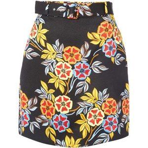 MSGM Floral Print Cloqué Belted Mini Skirt